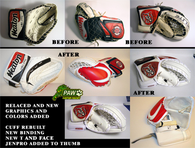 rebuild and color changes on a glove