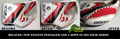 goalie glove gel palm and repairs
